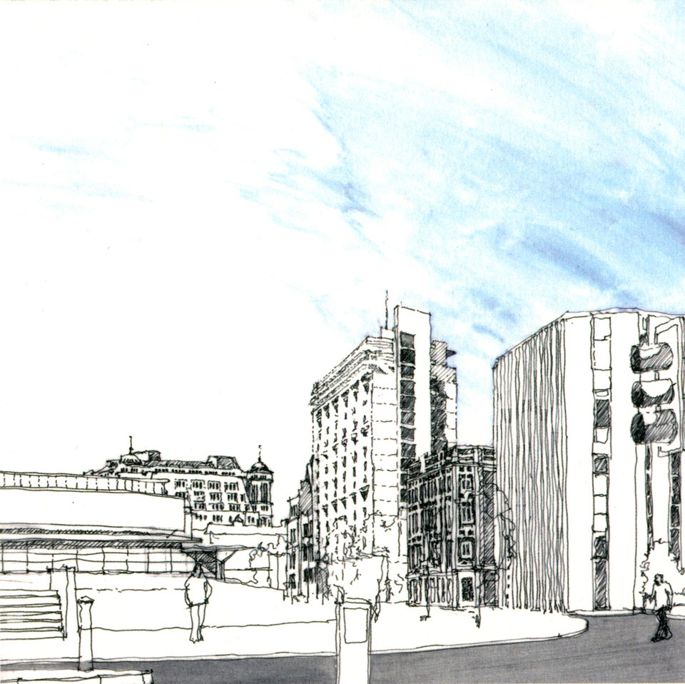 Sketch. View from Lower Mosley Street.
