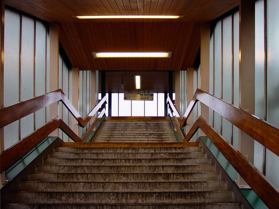 View up stairs to overbridge from Platform 2.