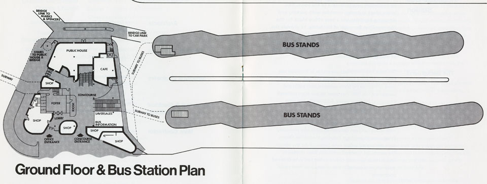 Bus station and concourse plan.