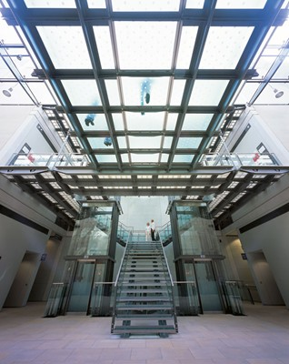 Glass Stair and bridges between old and new galleries.