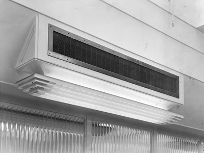 Detail of combined lighting and ventilation fitting.