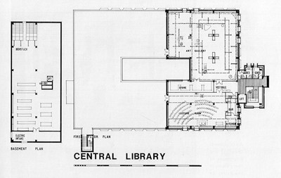 Basement and first floor plans.