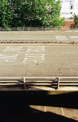 Carriageway cross section and markings. View from MMU Student Union stairwell.
