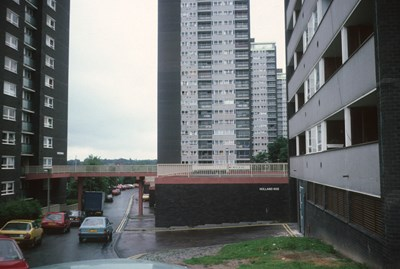 View of 21-storey blocks on College Bank Way with Underwood and Mardyke in foreground, 1987.