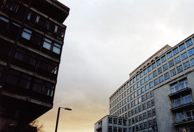 Reflected sky. Elizabeth House (demolished) to left of image.