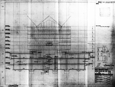 Sectional elevation. Bernard House (demolished).