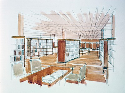 Library. Perspective sketch.