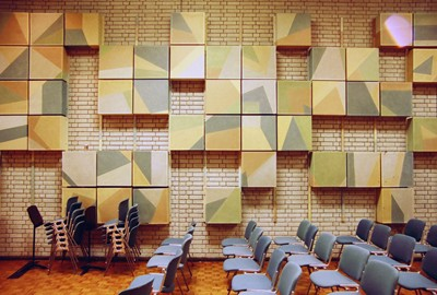 Rehersal room. Original acoustic panels.