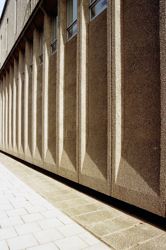 Rear wall to library.